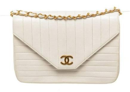 Chanel White Leather Line Flap Shoulder Bag