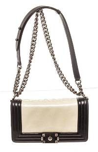 Chanel White Black Patent Leather Small Shoulder Bag