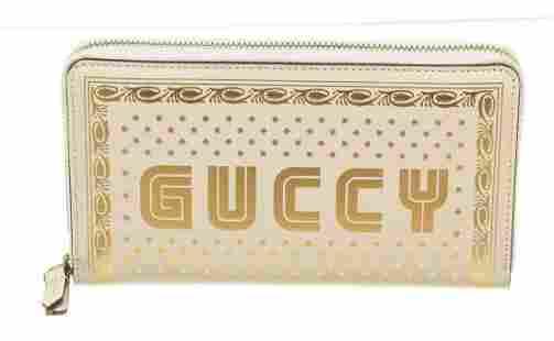 Gucci White Gold Taiga Leather Sega Zippy Wallet