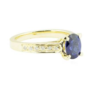1.74 ctw Blue Sapphire and Diamond Ring - 14KT Yellow