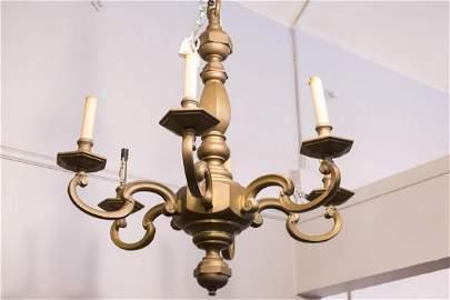 Continental Bronze Chandelier, Vintage 5-Light