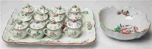 French Faience Pots de Creme Chocolat Set of 14