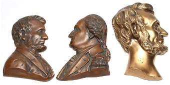 Washington & Lincoln Profile Busts, Vintage Copper