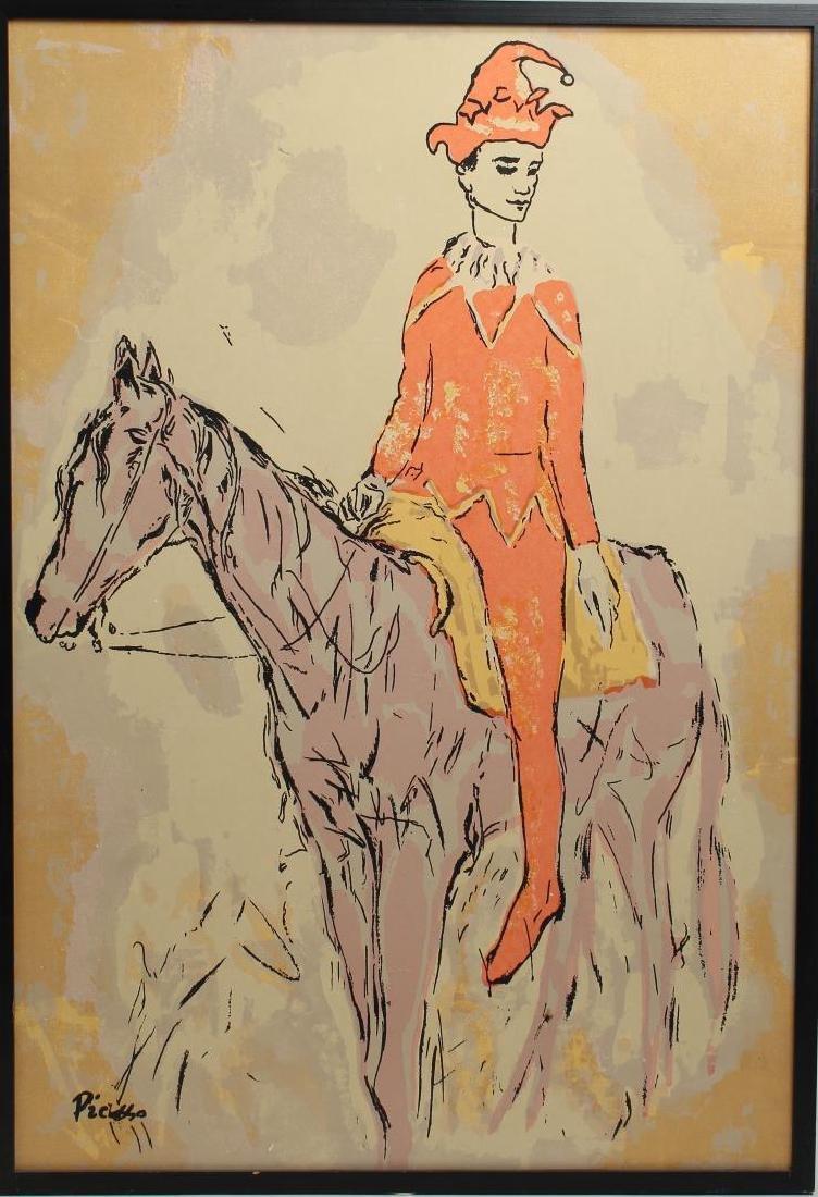 "After Pablo Picasso- Pochoir, ""Arlequin a Cheval"""