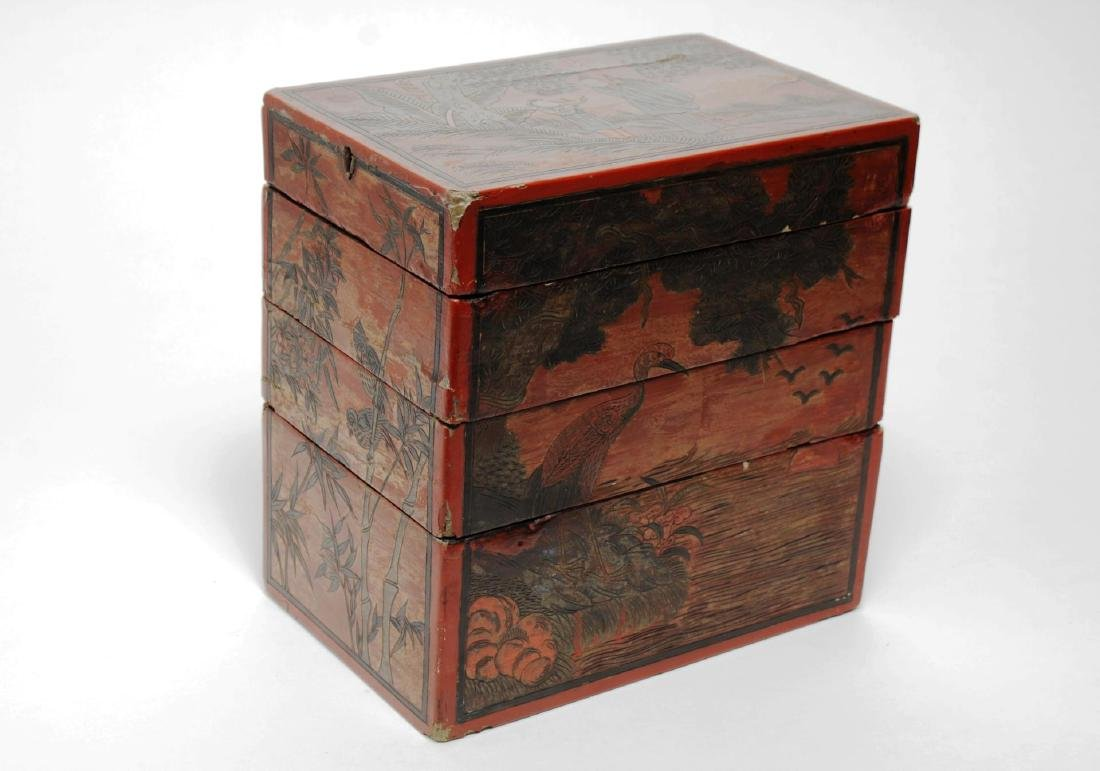 Antique Chinese Lacquer Stacking Box, Red & Black