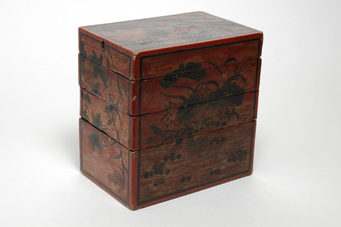 Antique Chinese Lacquer Stacking Box, Red & Black - 2
