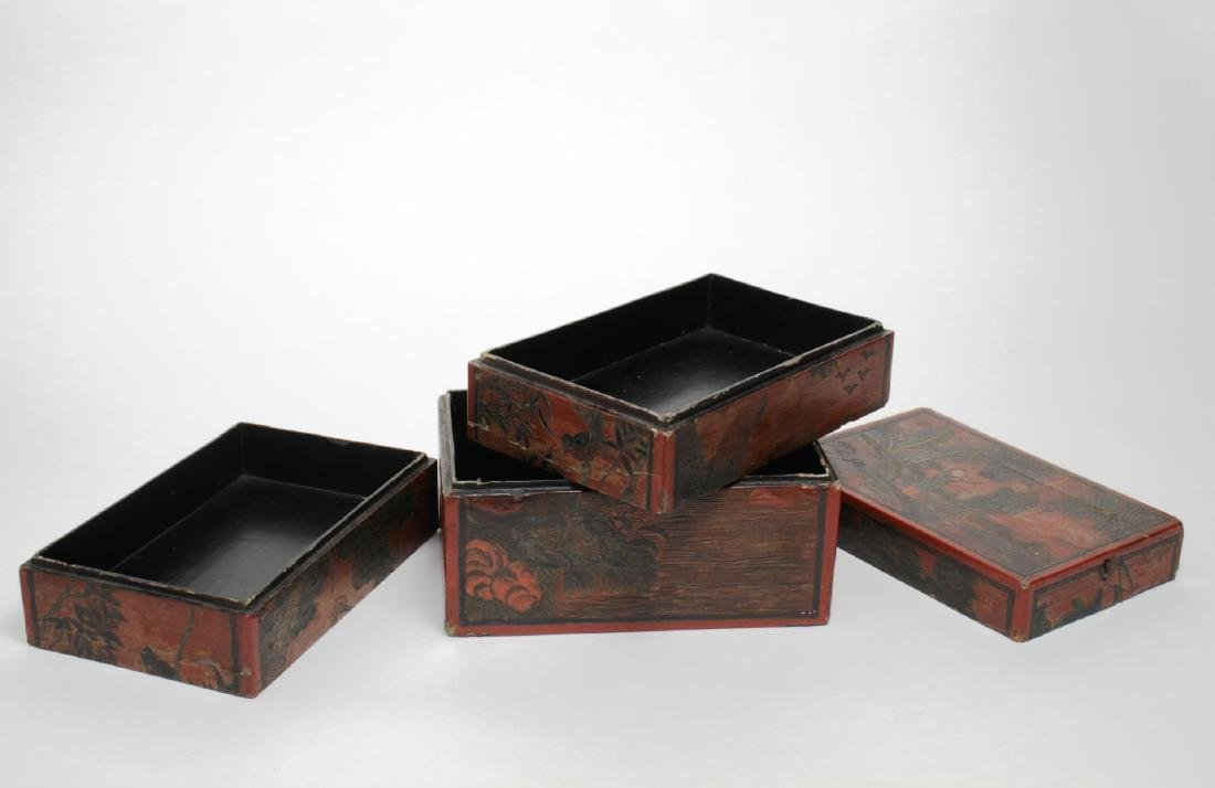 Antique Chinese Lacquer Stacking Box, Red & Black - 3
