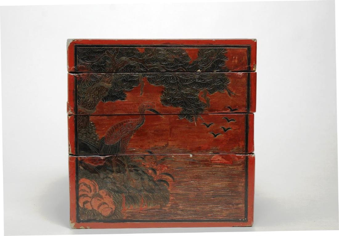 Antique Chinese Lacquer Stacking Box, Red & Black - 4