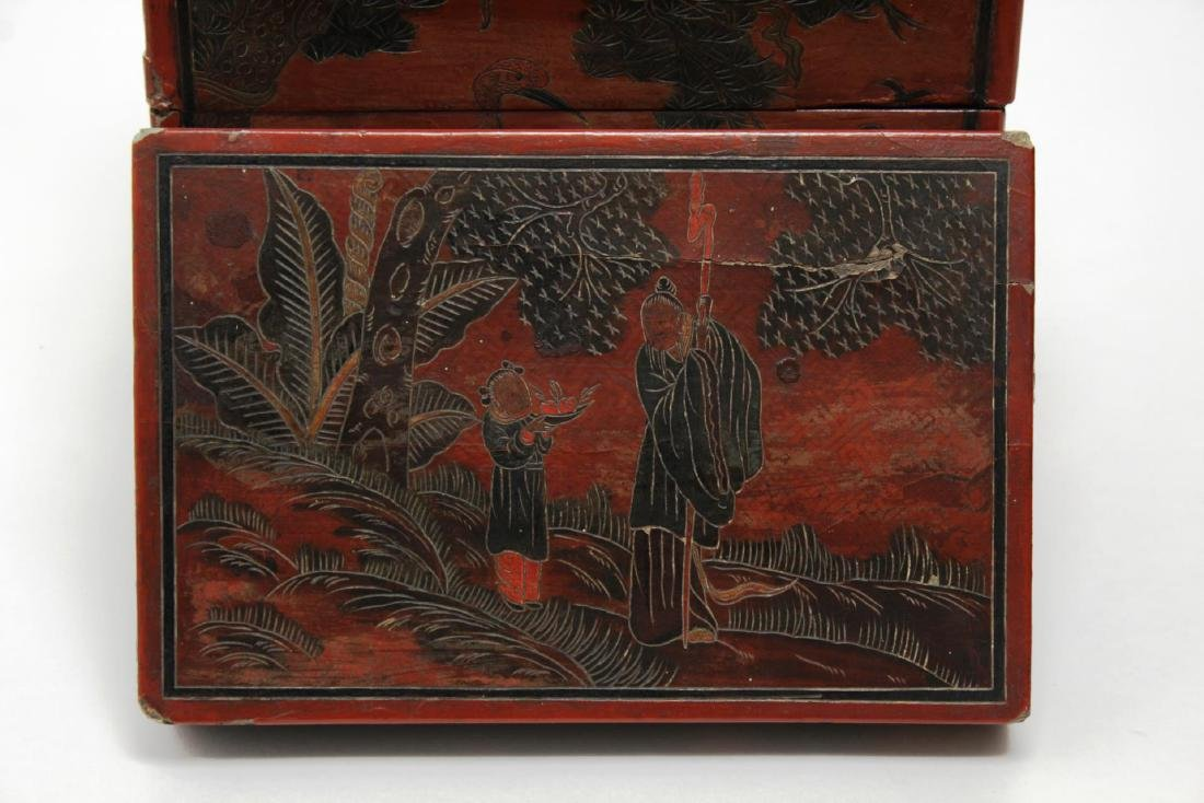 Antique Chinese Lacquer Stacking Box, Red & Black - 5