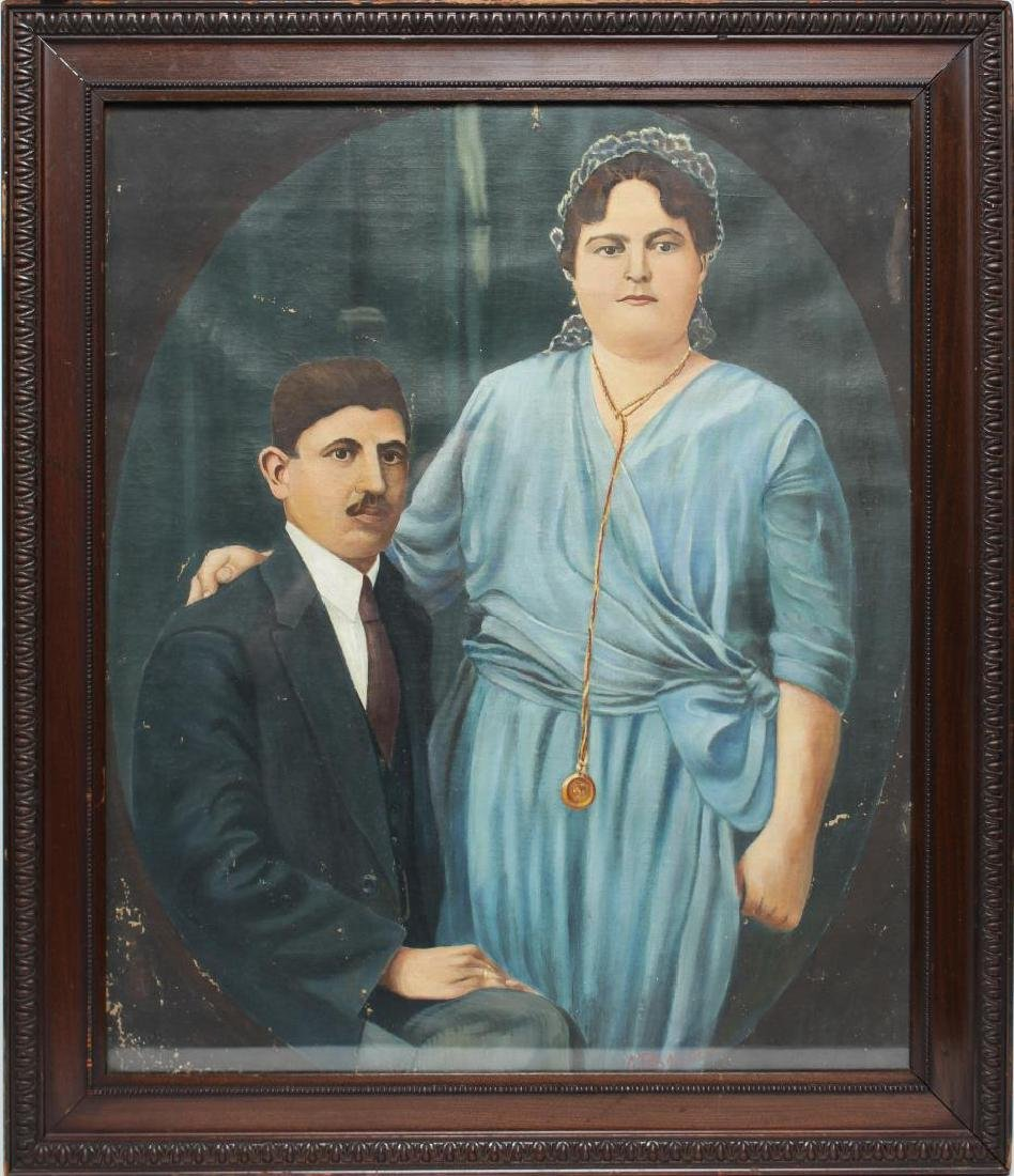 Greek Folk Art Wedding Portrait, Oil on Canvas