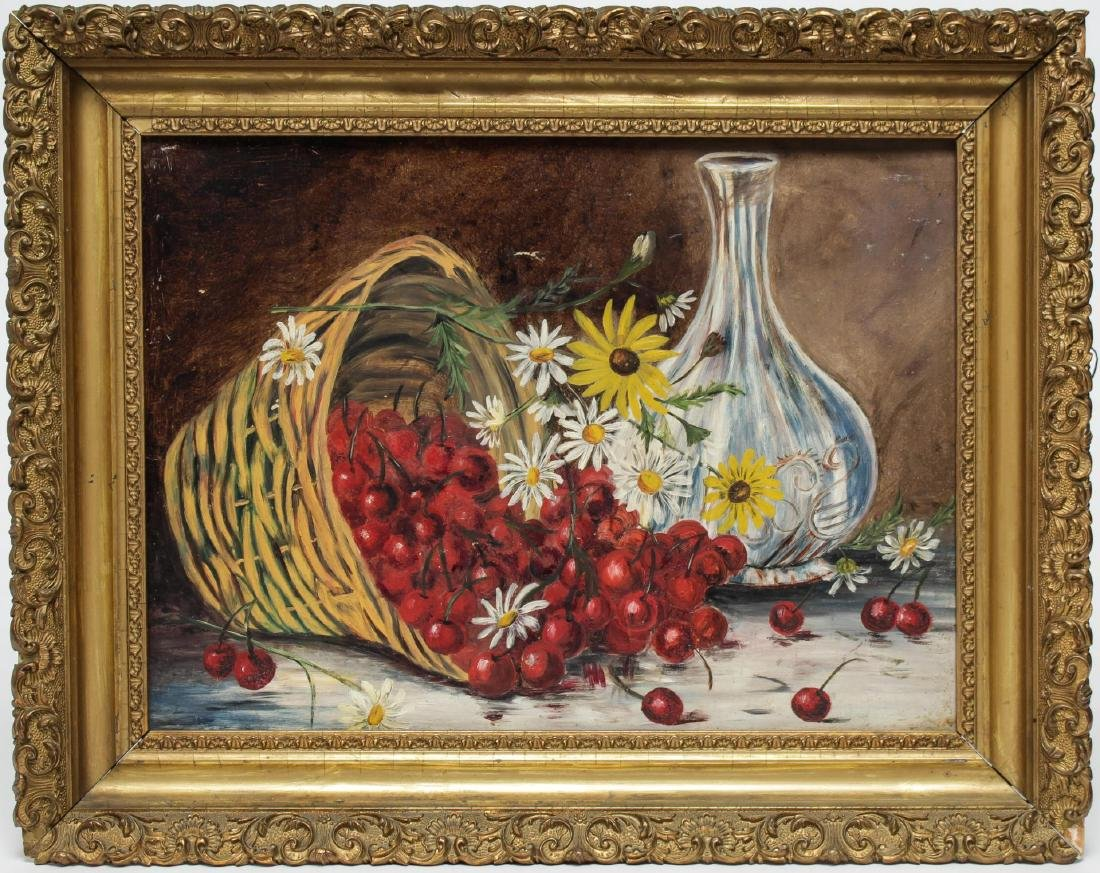 Still Life with Cherries- Unsigned Oil on Tin
