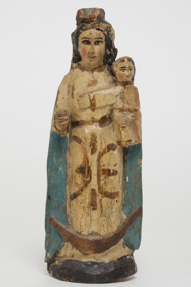 Antique Santos Madonna & Child, Polychrome Wood