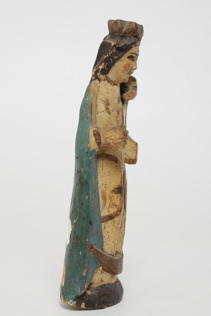 Antique Santos Madonna & Child, Polychrome Wood - 2