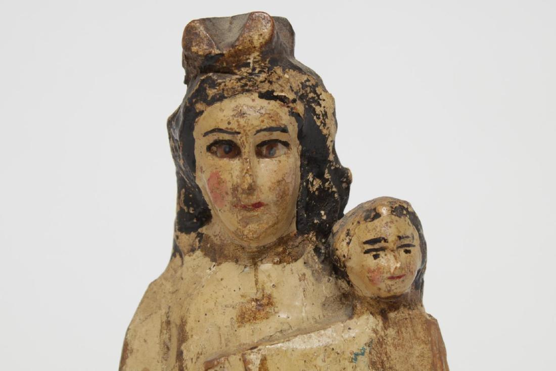 Antique Santos Madonna & Child, Polychrome Wood - 4