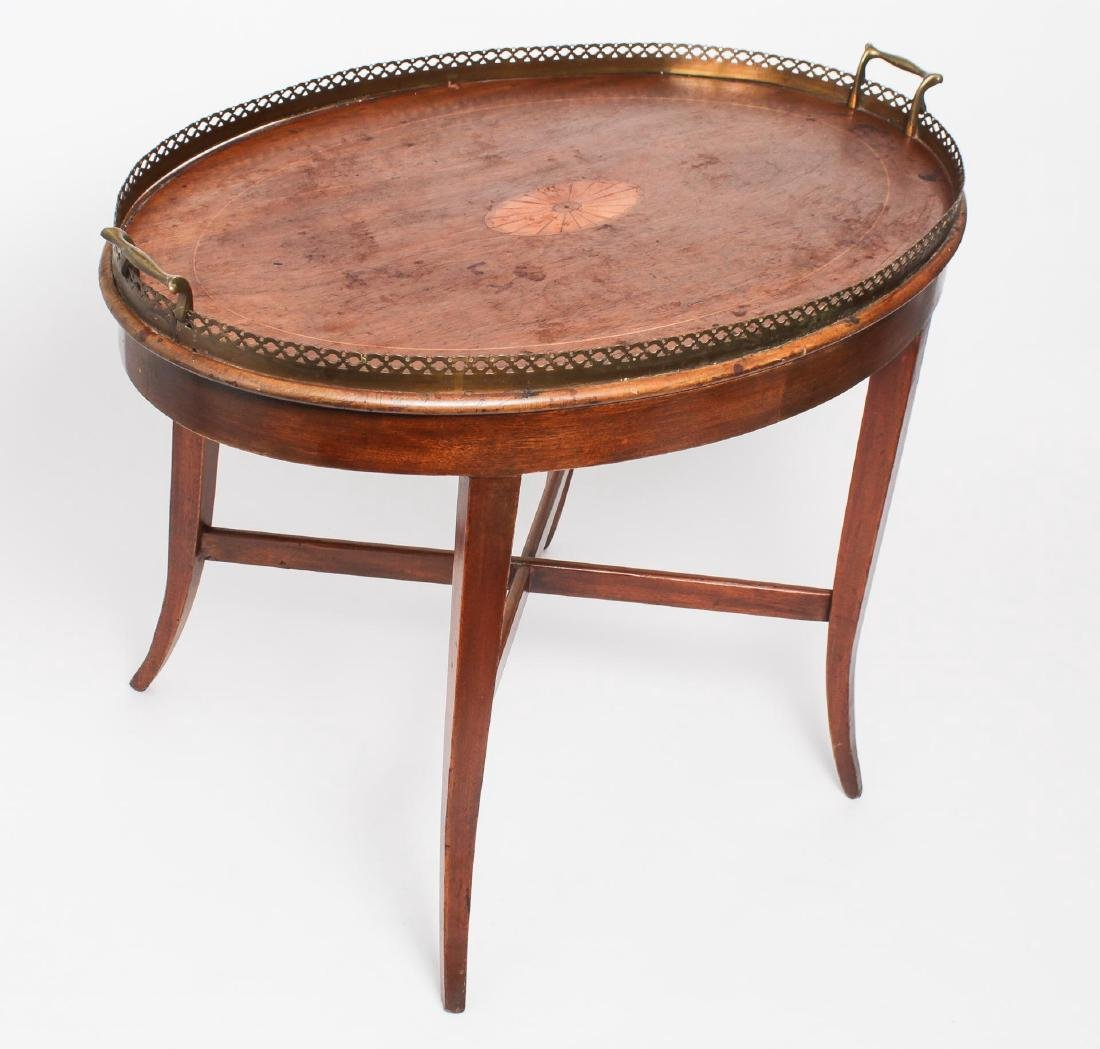 English-Style Walnut & Parquetry Tray Table