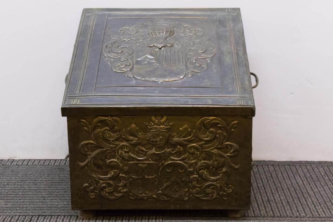 Victorian Medievalist Brass & Wood Coal Chest