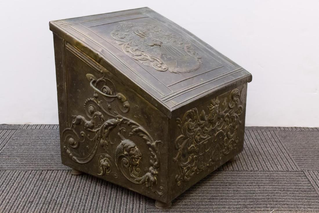 Victorian Medievalist Brass & Wood Coal Chest - 2