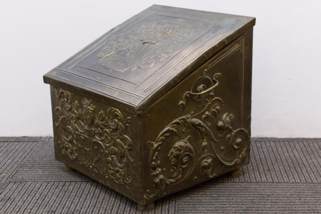 Victorian Medievalist Brass & Wood Coal Chest - 3