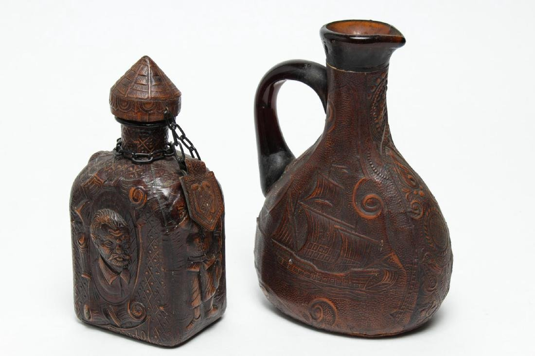 Spanish Liquor Jugs, Embossed & Tooled Leather