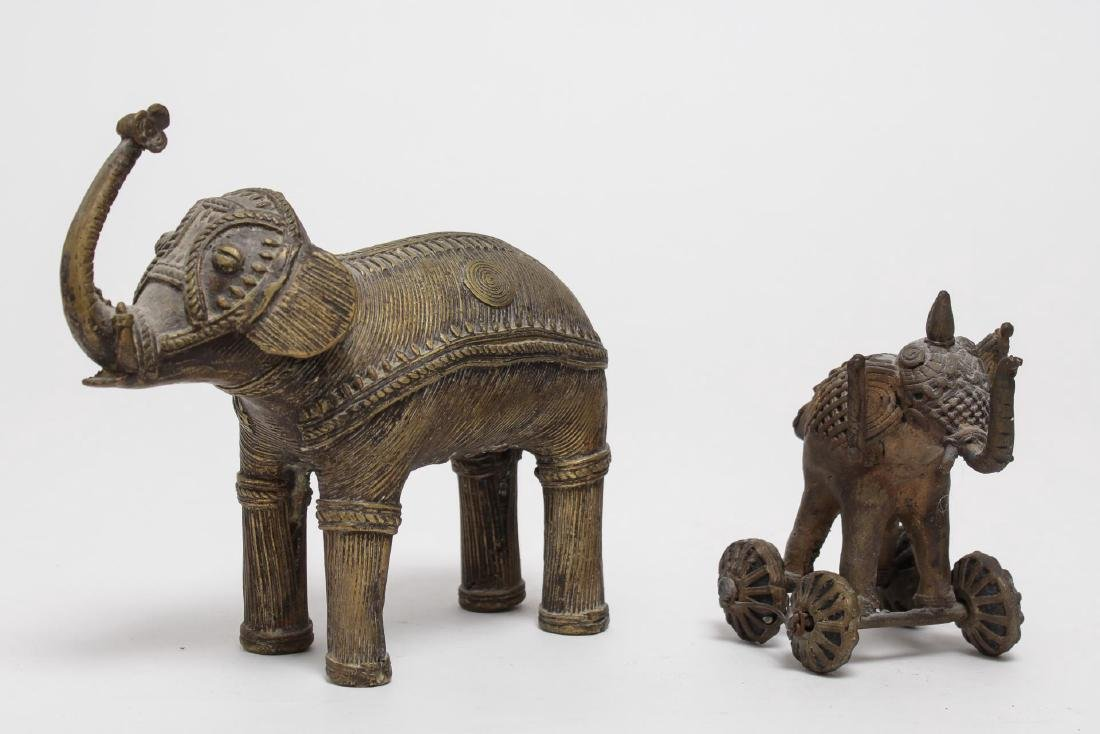 African Brass Elephant Figurines, Burkina Faso - 2