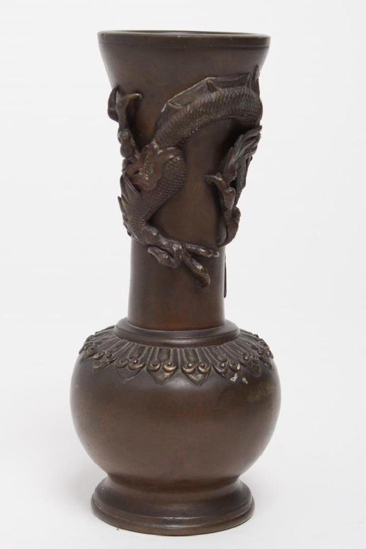 Japanese Meiji Bronze Vase with Dragon Motif