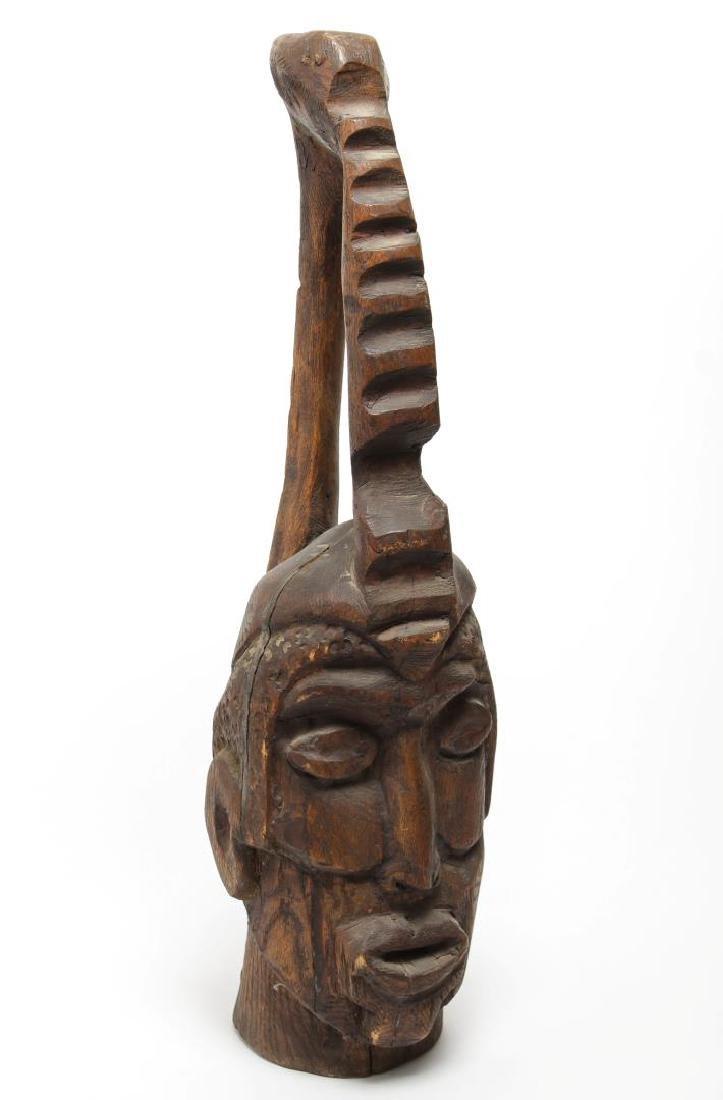 Folk Art Tribal Wood Carving of a Head