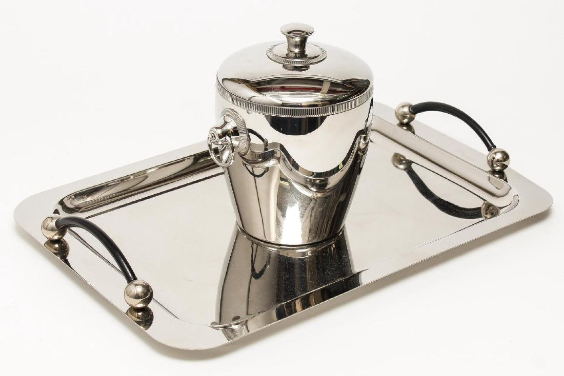 Stainless Steel Ice Bucket & Tray, incl. Waterford