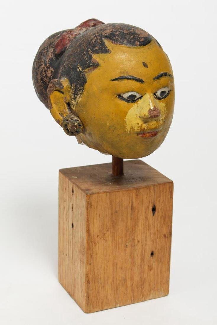 Balinese Painted Ceramic Head of a Woman