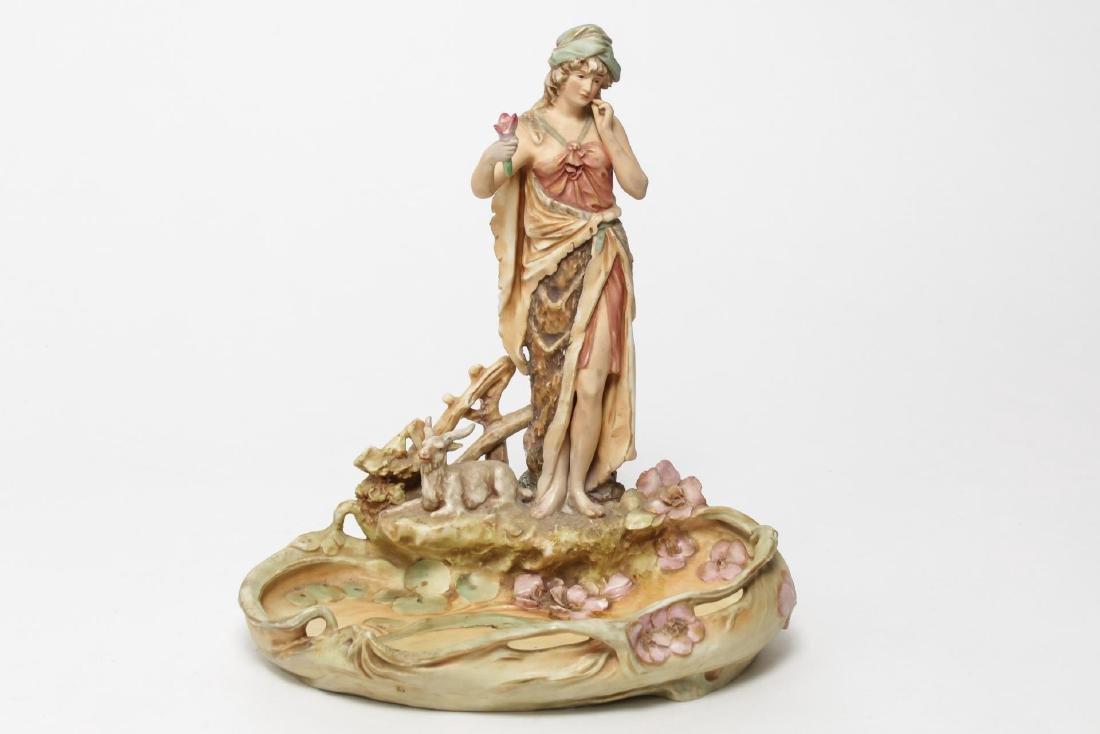 Royal Dux Bohemia Art Nouveau Pottery Centerpiece