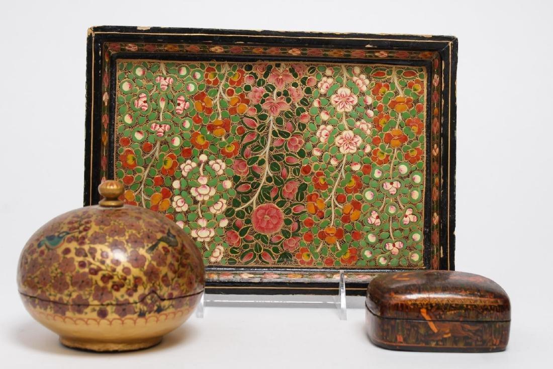 Vintage Indian Painted Lacquerware Pieces, 3