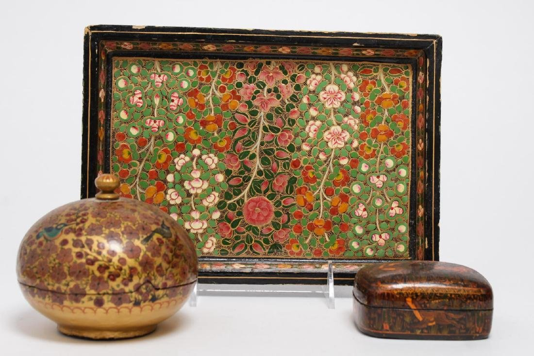 Vintage Indian Painted Lacquerware Pieces, 3