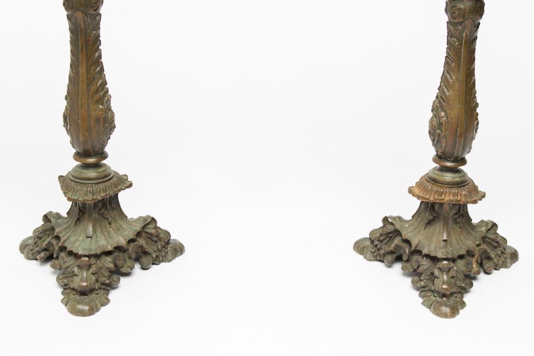 Victorian Bronzed & Gilt Iron 4-Light Candelabra - 2