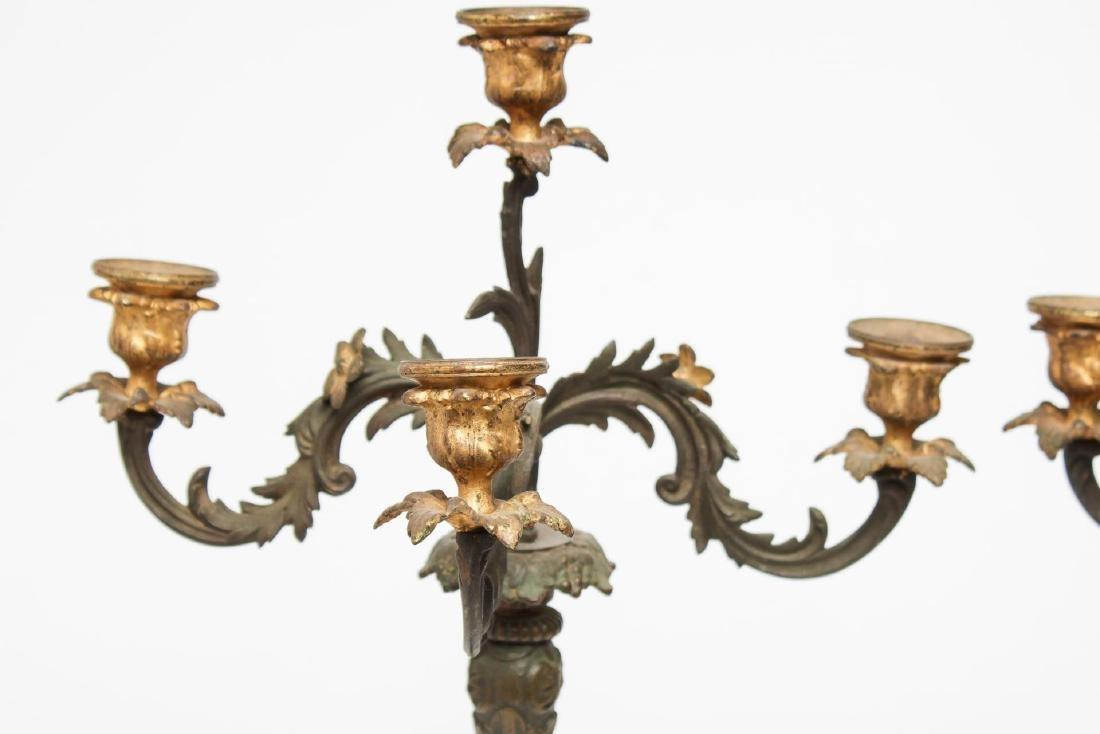 Victorian Bronzed & Gilt Iron 4-Light Candelabra - 3