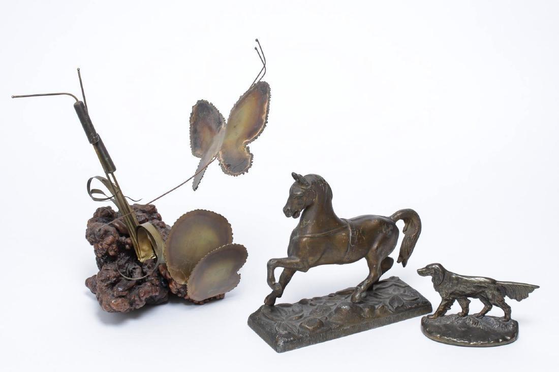 Mid-Century Sculptures, Metal, 3 Vintage