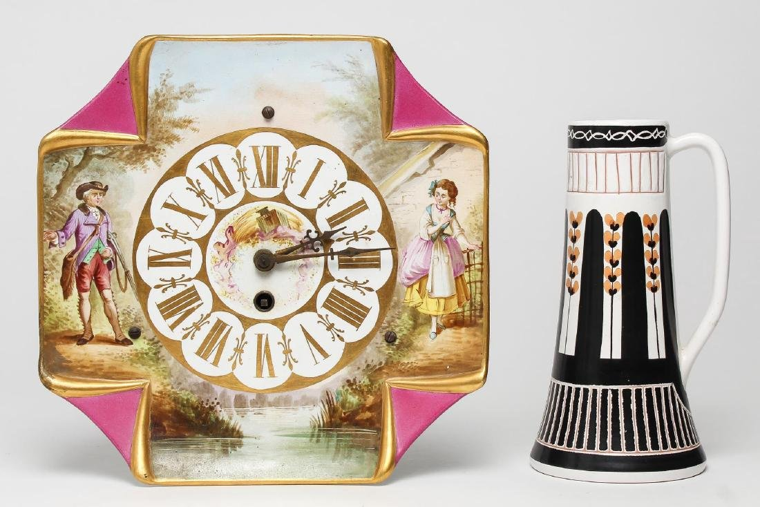 German Porcelain Clock & Norwegian Stein, Vintage