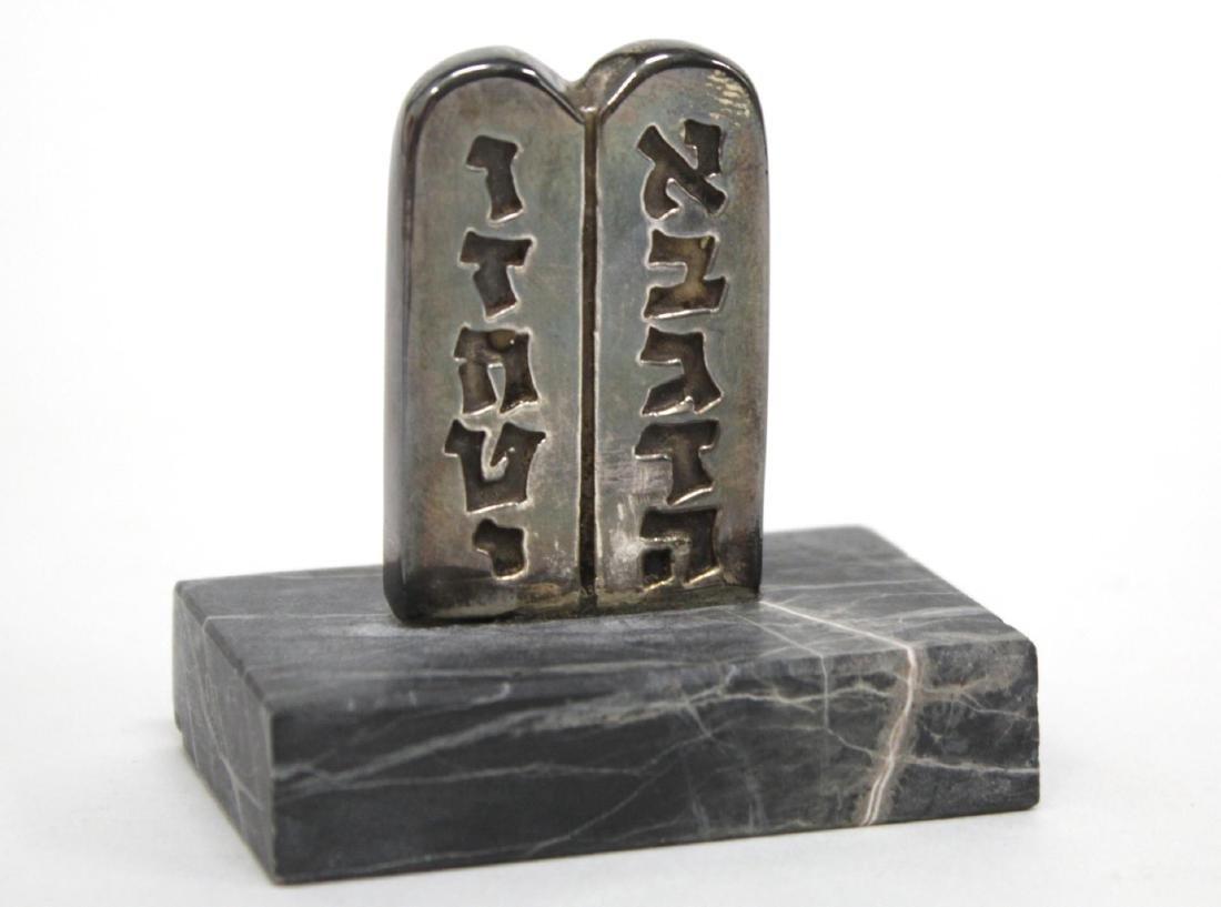 """Silver Judaica """"Ten Commandments"""" Table Article"""