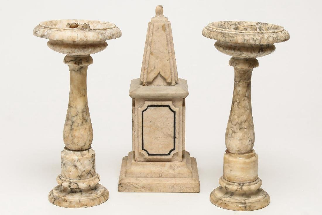 Marble Garniture Set- Obelisk & Candlesticks