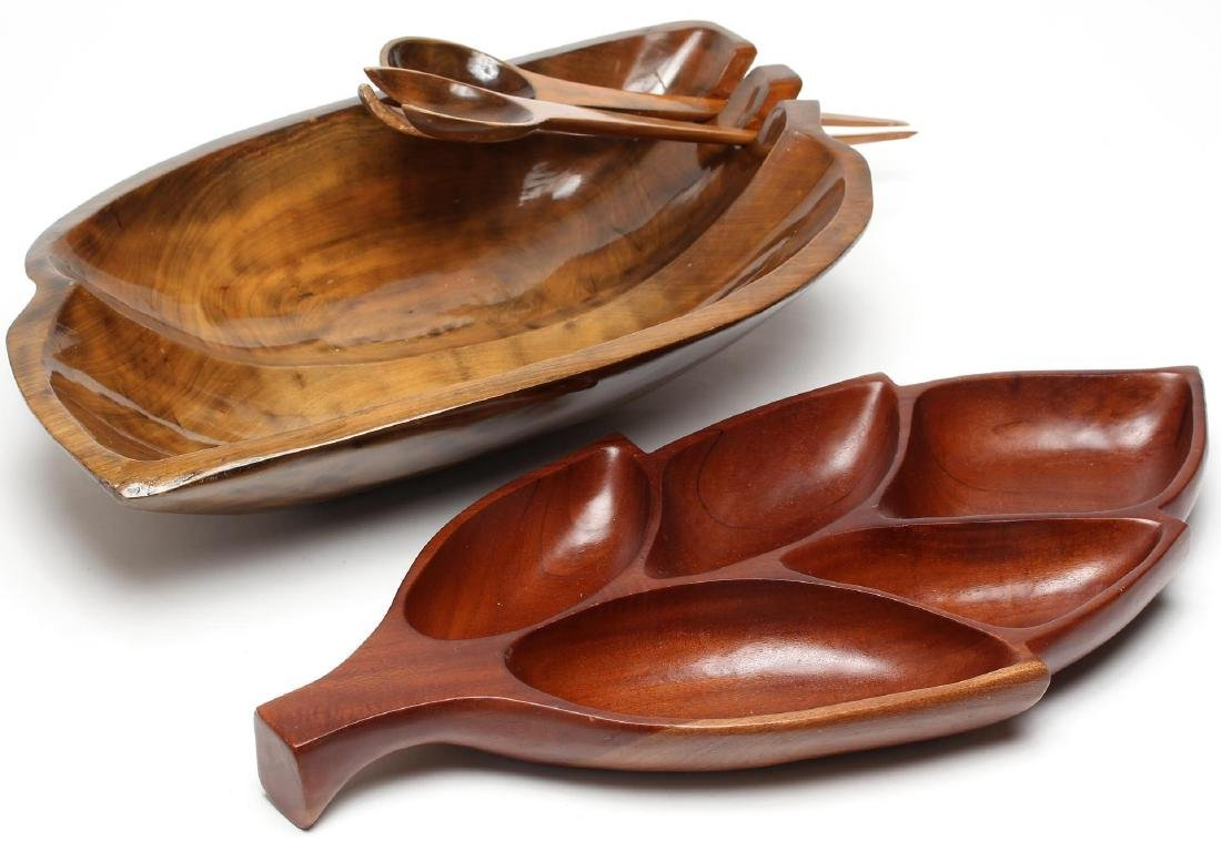 Carved Wood Serving Dishes & Utensils, 4 Pcs