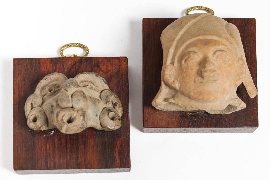 Pre-Columbian Pottery Head Fragments, Antique, 2