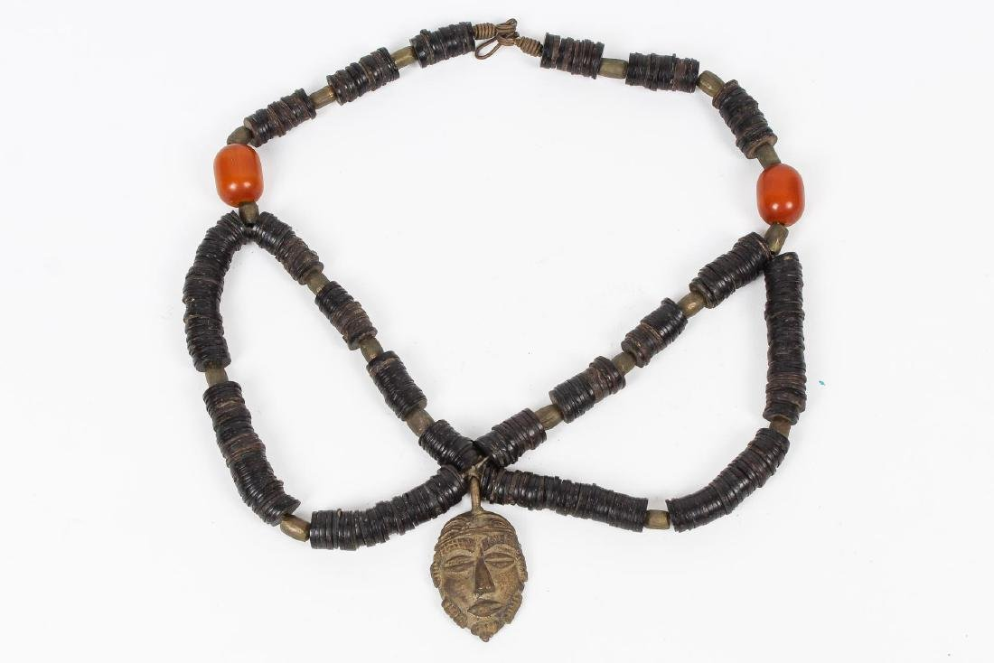 Tribal Beaded Necklace, with Metal Mask Pendant
