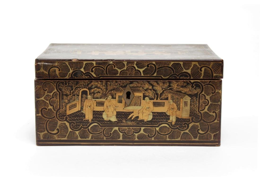 Chinese Lacquered Trinket Box, Black & Gold - 4
