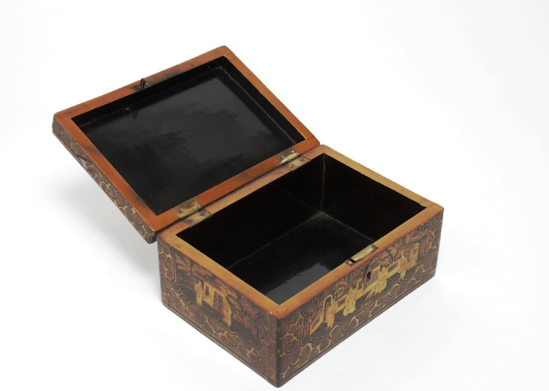 Chinese Lacquered Trinket Box, Black & Gold - 5