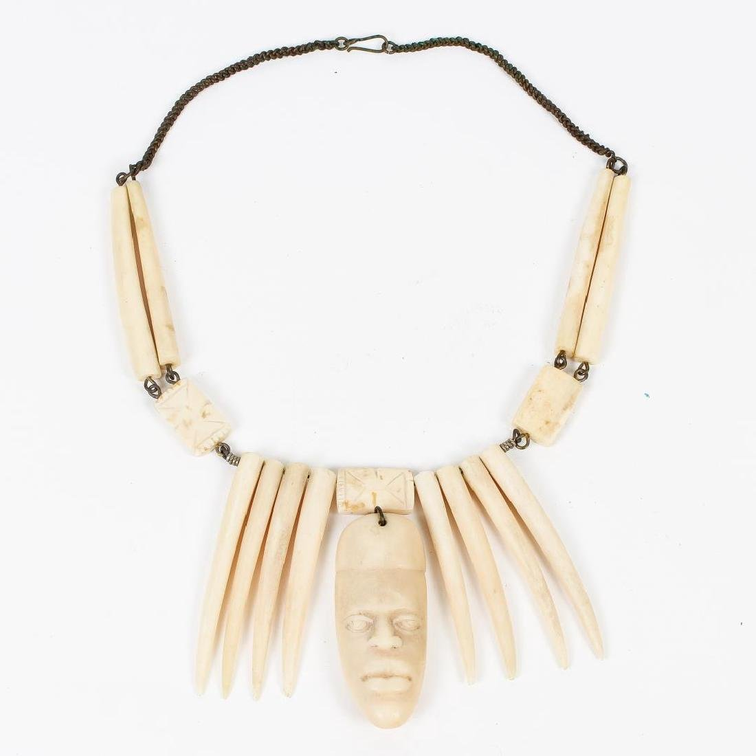 Tribal Carved Bone or Tusk Necklace