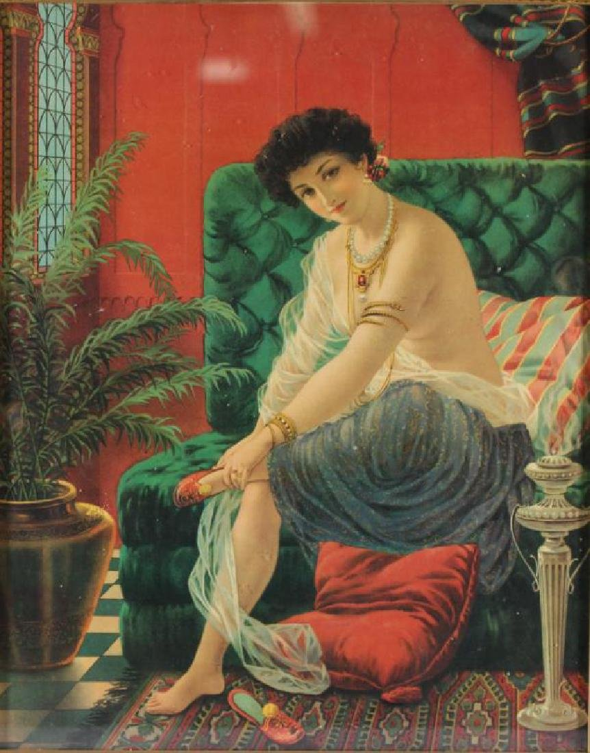 Orientalist Chromolithograph Print of a Harem Girl