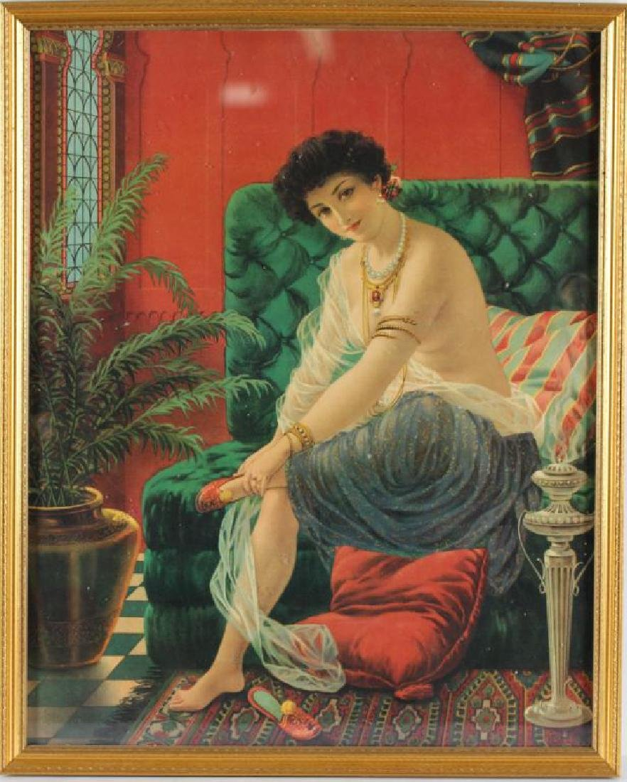 Orientalist Chromolithograph Print of a Harem Girl - 2