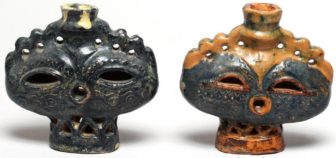 Haniwa-Style Glazed Pottery Candle Holders, Pair