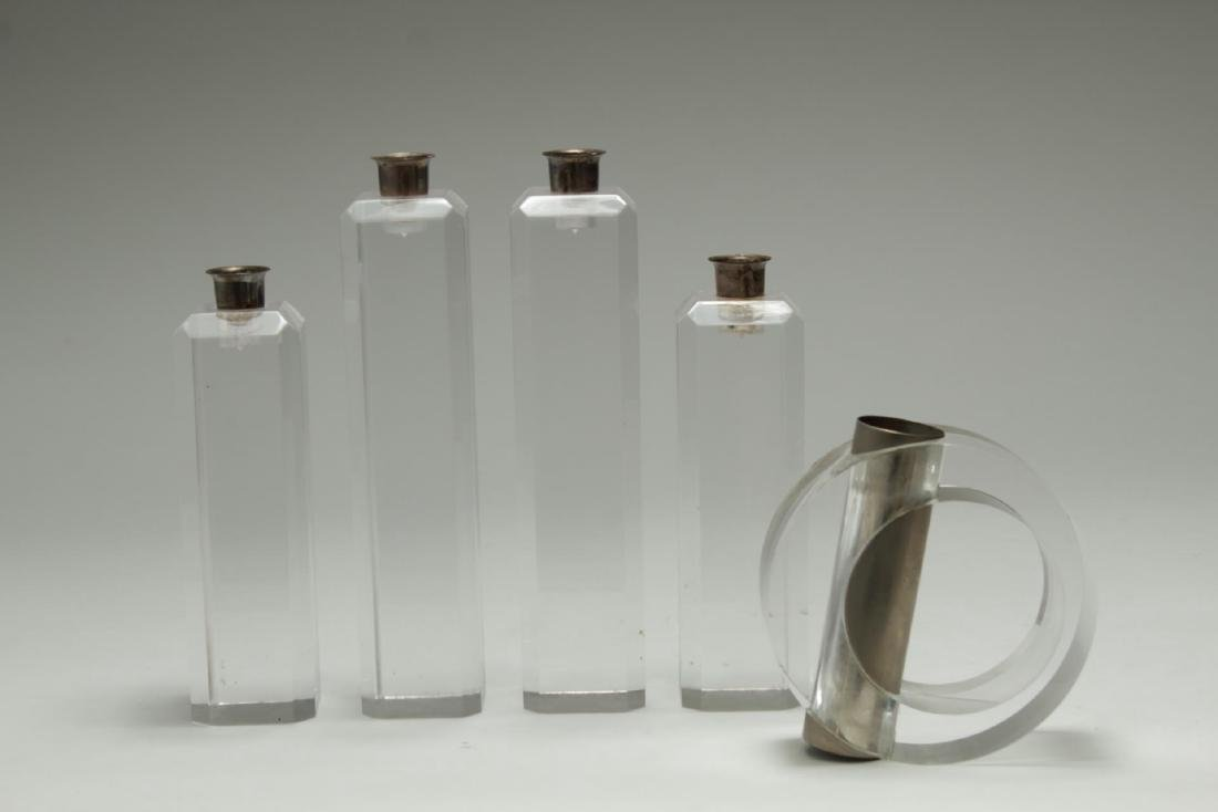 Mid-Century Modern Lucite Candle Holders & Vase, 5