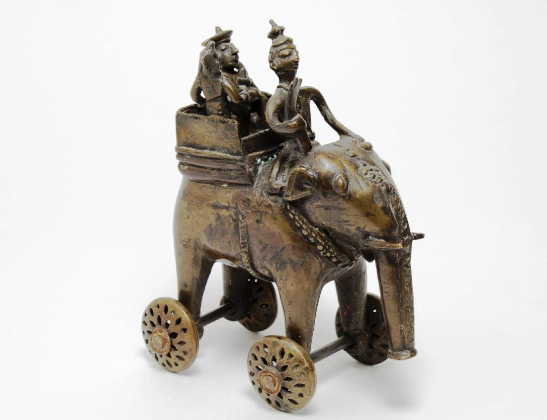 Indian Cast Brass Elephant Pull Toy, Vintage