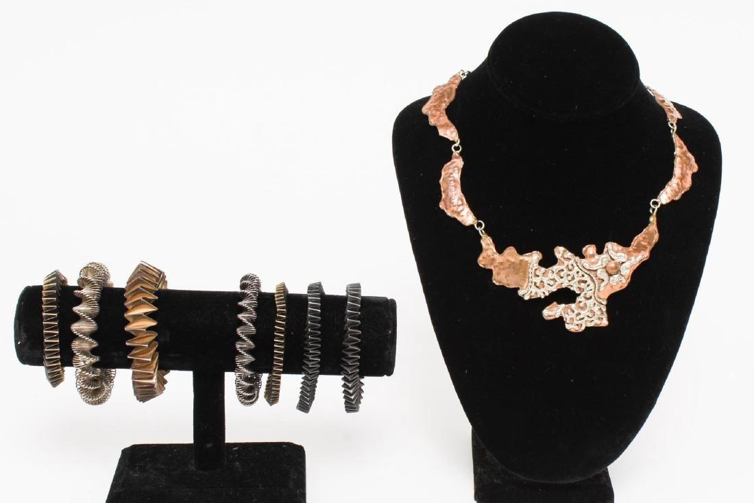 Modernist Metal Bracelets & Necklace, Woman's
