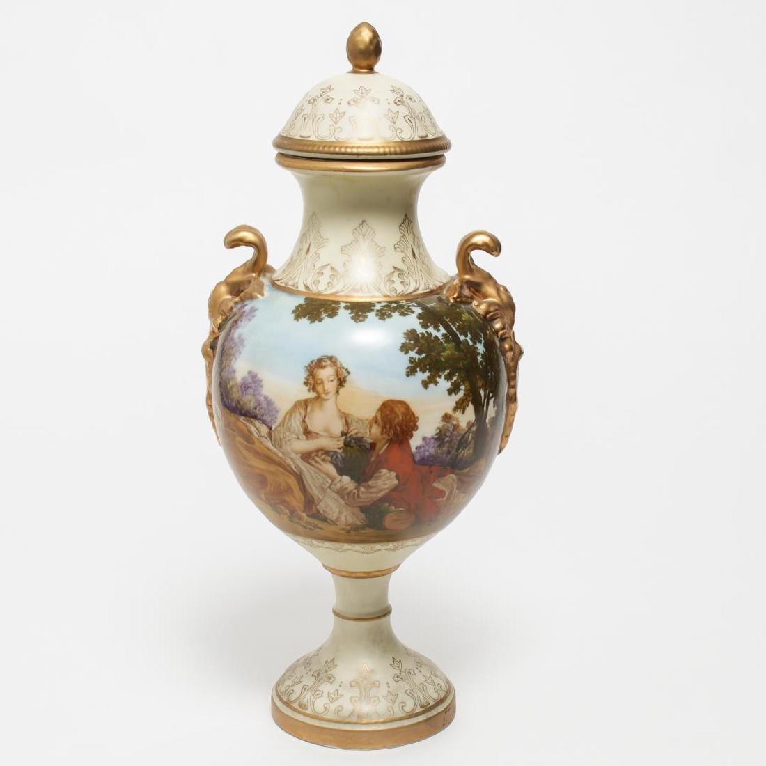 Paris Porcelain- Hand-Painted Urn with Landscape
